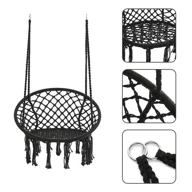 Round Hammock Round Hammock Swing Hanging Chair Outdoor Indoor Furniture Hammock Chair for Garden Dormitory Child Adult 2