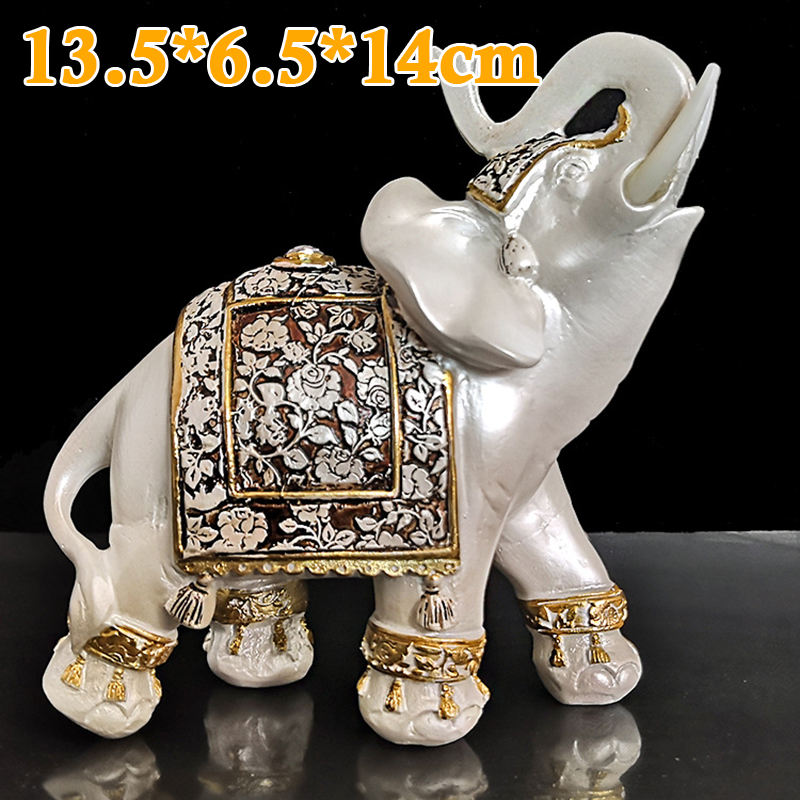 Resin White Lucky Elephants Statues Feng Shui Happy Wealth Figurine Home Decor Small Elephant Model Decoration