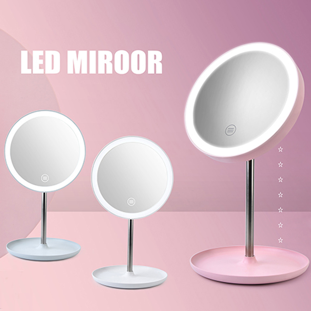 Makeup Mirror With Natural White LED Daylight Detachable/Storage Base 3 Modes To