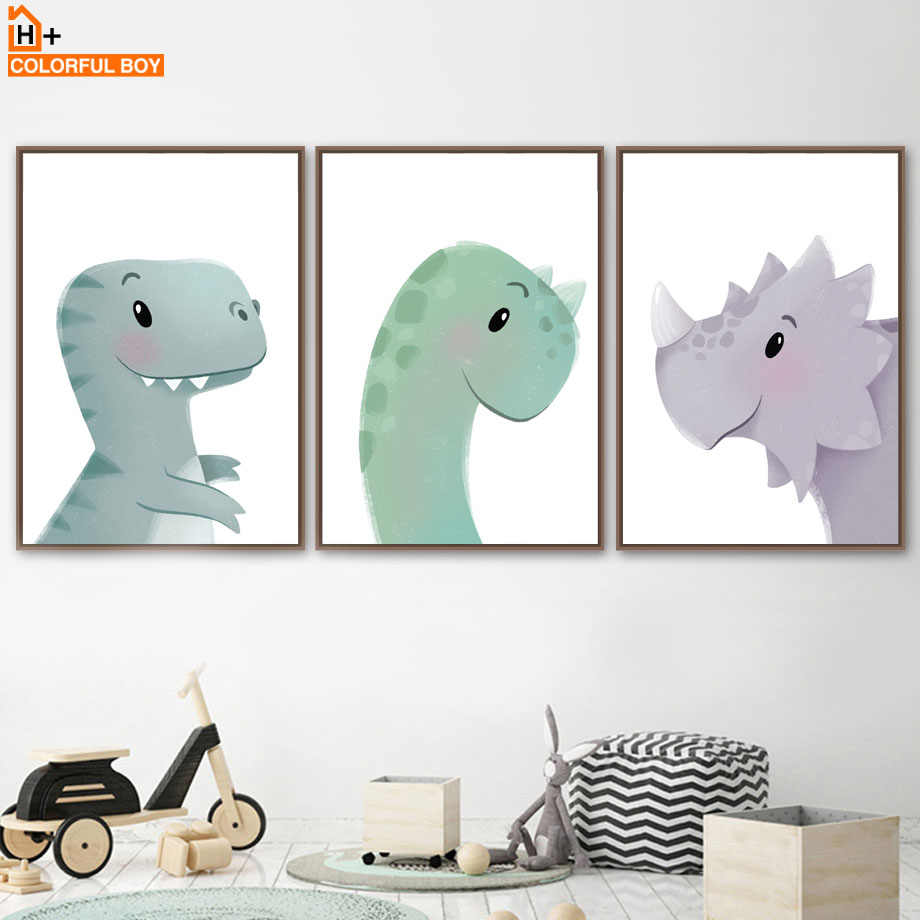 Cute Baby Dinosaur Cartoon Nordic Canvas Posters And Prints Wall Art Canvas Painting Print Wall Pictures For Kids Room Bedroom