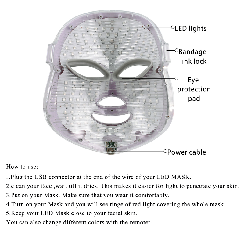 Image 5 - 7 Colors Led Facial Mask Beauty Skin Care Rejuvenation Wrinkle Acne Removal Face Beauty Therapy Whitening Tighten Instrument-in Face Skin Care Tools from Beauty & Health