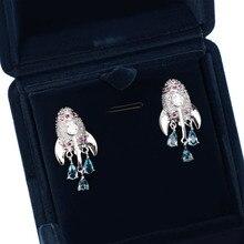 Exquisite Rocket Shape Colored AAA Zircon Earrings Droplet Pendant Novelty Woman Girls Jewelry Ear Studs