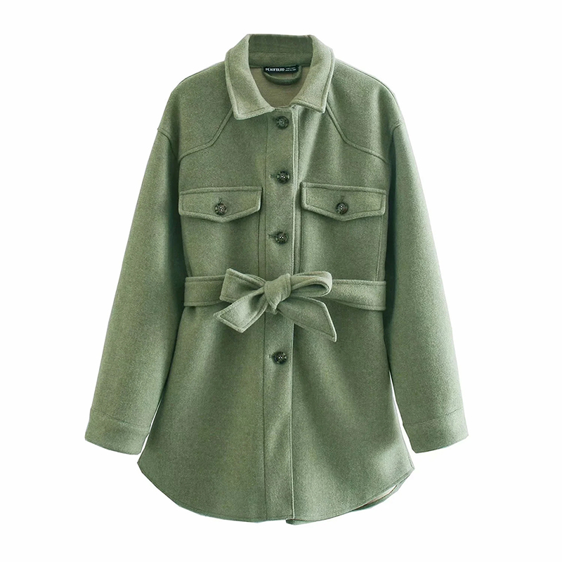 BBWM Za Women 2020 Fashion With Belt Loose Woolen Jacket Coat Vintage Long Sleeve Side Pockets Female Outerwear Chic Overcoat