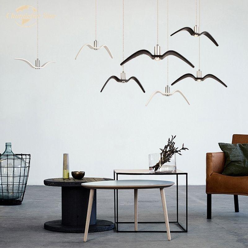 Nordic LED Chandeliers Lighting Postmodern Bird Seagull Pendant Hanging Lamp for Bedroom Living Room Dining Room Indoor Lights