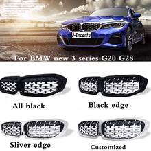 A pair Front Kidney Grille For BMW 3 Series G20 G28 2019 Diamond Grille Meteor Style Front Bumper Grill Car Styling 3 pair front
