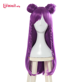 L-email wig Game LOL K/DA Kaisa Cosplay Wigs Long Purple KDA Cosplay Wig with Buns Halloween Heat Resistant Synthetic Hair l email wig brand new 70cm long cosplay wigs blue purple color heat resistant synthetic hair perucas cosplay wig