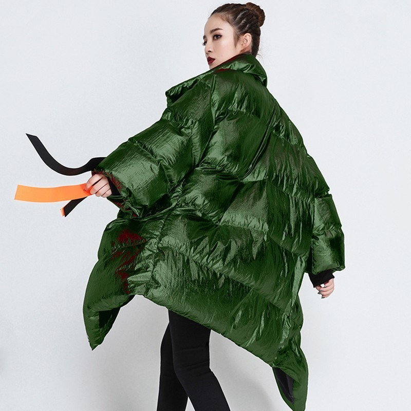 CHICEVER-2019-Ribbons-Women-s-Winter-Down-Jackets-Stand-Collar-Long-Sleeve-Asymmetric-Jacket-Female-Fashion