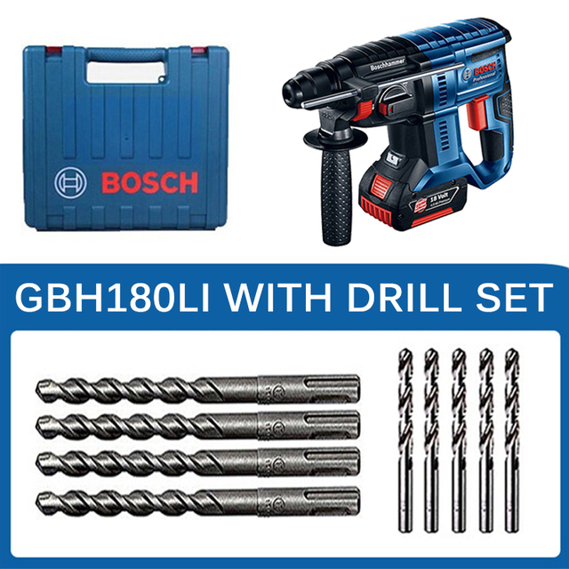 Bosch Electric Impact Drill Four Pits Lithium Rechargeable Powerful Wireless Multi-function Household 18V Electric Hammer Drill 6