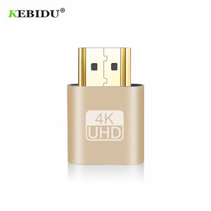 Kebidu Support 1920x1080P Gold VGA HDMI Dummy Plug Virtual Display Emulator Adapter DDC Edid For Miner Mining New Arrival