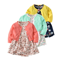 HI&JUBER Baby Children Girls 2 PCS Suit Cotton Long Sleeve Coat+Short Floral Dress Girl Clothing 100% Clothes