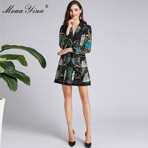 Image 2 - MoaaYina แฟชั่นฤดูใบไม้ผลิผู้หญิงฤดูใบไม้ร่วงแขนยาวชุดเสื้อ + กระโปรงจีบ VINTAGE พิมพ์สีดำ Elegant 2 ชิ้นชุด
