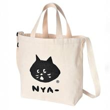 купить WULI SEVEN Design Cute Kawaii Cartoon Anime Cat Print Linen Tote Bag Women Fashion Handbags School Travel Shopping Shoulder Bags по цене 519.75 рублей