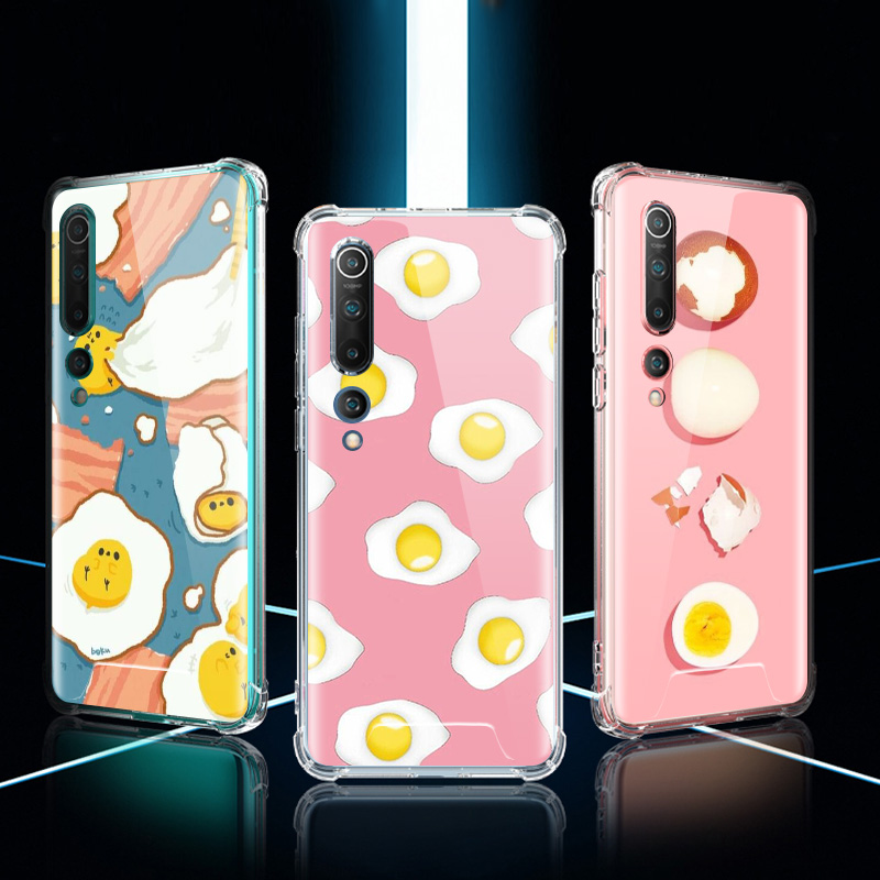 Fried Eggs Illustration Pattern Collage Case For Xiaomi Mi Note 10 9 CC9 9T Pro 5G CC9E A2 Lite X2 Airbag Anti Fall Phone Coque