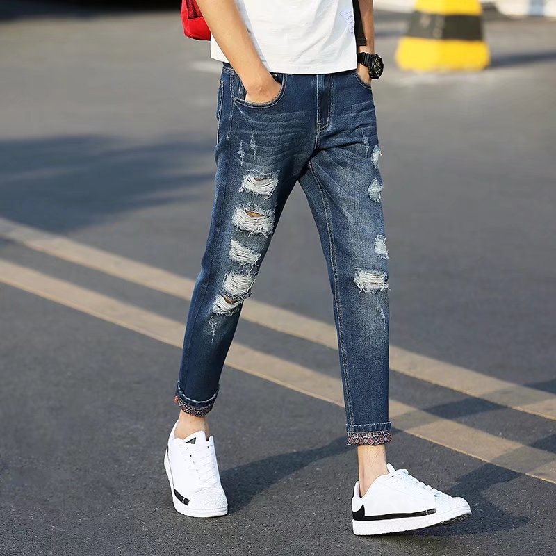 2018 Spring Clothing New Style Washing Retro Knife With Holes Worn MEN'S Jeans Men's Street Capri Pants