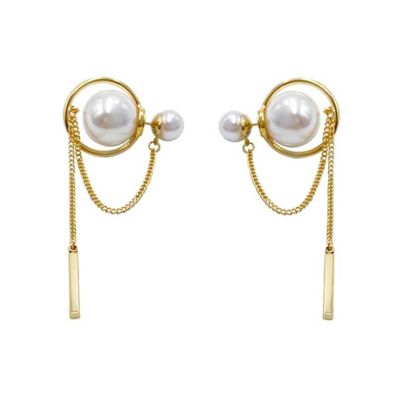 Golden gLoaSublim Women Party Long Chain Tassel Big Faux Pearl Dangle Stud Earrings Jewelry Gift Fashion Earrings