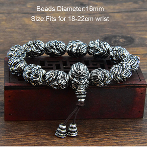 Image 2 - Buddha Bracelet Beads Bracelets For Men Monkey King Beaded Bracelet With Pixiu Charm Lucky Jewelry
