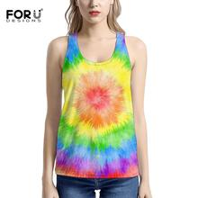 FORUDESIGNS Tank Tops For Women Beautiful Color Print Sleeve