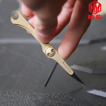 1PC EDC Mini Brass Folding Utility Knife Unpacking Unboxing Knife Emergency Medical Knife Scalpel Portable Keychain Tool Pendant