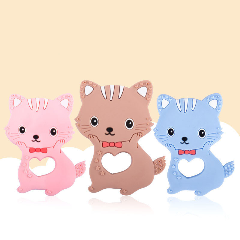 Baby Silicone Teethers BPA Free Teething Toy Cute Cartoon Cat Baby Teether Silicone Beads DIY Chain Baby Products