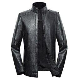 Мужская куртка из натуральной кожи больших размеров 5XL 6XL 7XL 2020 Весенняя и Осенняя мужская кожаная куртка на молнии из овчины верхняя одежда ...
