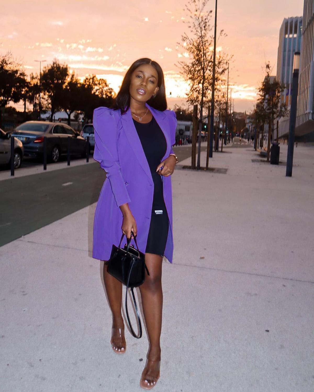 Echoine Purple Long Blazer Outwear Autumn Long Puff Sleeve Elegant OL Office Ladies Work Dress Long Coat