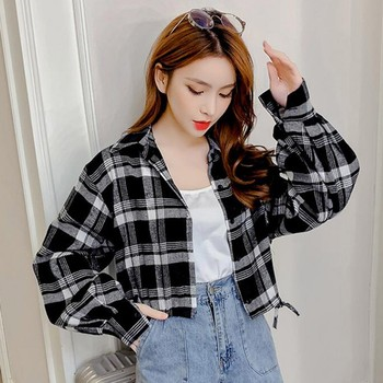 Female Outerwear Autumn and Winter Female Shirt Plaid Shirt Women's Shirts 2019 Women Slim Long Sleeve Cotton Blouse Top hot hot sale sexy shirt new women solid lace cold shoulder long sleeve slim blouse top shirts 2019 elegant shirt female clothes