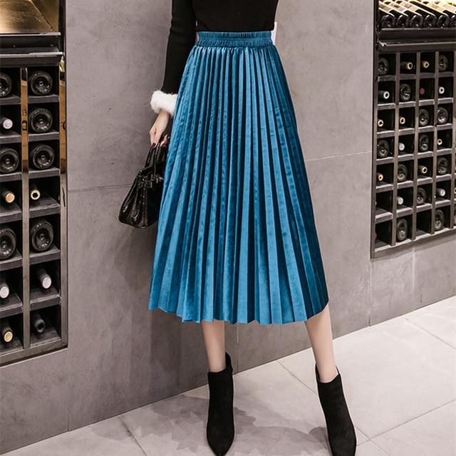 Autumn Winter Velvet Skirt High Waisted Skinny Large Swing Long Pleated Skirts Metallic Plus Size 3XL Midi Saia 1