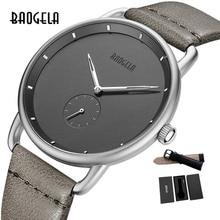 BAOGELA Топ люксовый бренд Мужские кварцевые часы с кожаным ремешком простые часы мужские Ультра-тонкие модные деловые аналоговые модные часы