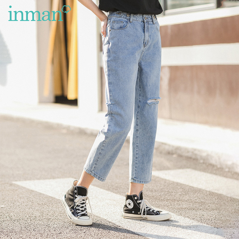 INMAN 2020 Summer New Arrival Pure Cotton All-match Personality Slimmed Hole Jeans