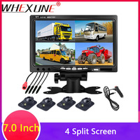 WHEXUNE Super HD DC12V 7 Inch 4 Split Quad LCD Screen Display Color Rear View Car Monitor with Car Truck Bus Reversing Camera