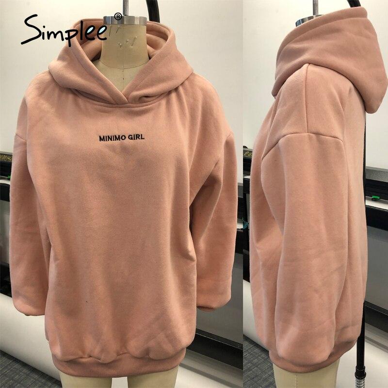 2020 Simplee Casual Solid Pink Women Fleece Sweatshirts Long Sleeve 5