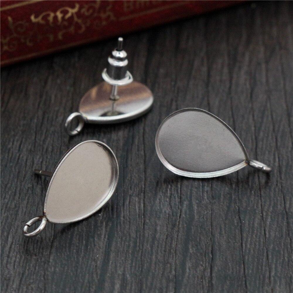 ( No Fade ) 10x14mm 20pcs/Lot 316 Stainless Steel Drop Earring Studs,Earrings Blank/Base,Fit 10*14mm Drop Glass Cabochons-T7-25