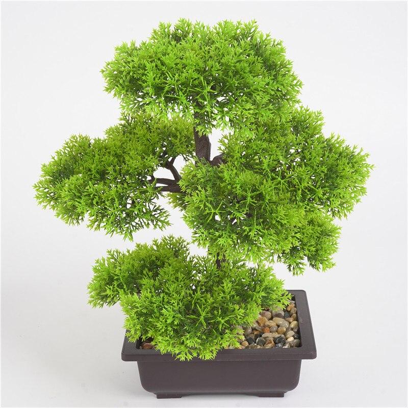 Artificial Plant Bonsai Simulation Mini Greeting Pine Potted Easy Grow Simulation Potted Plant Artificial Flowers For Home Garde
