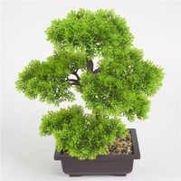 Planta Artificial de bonsái, simulación de Mini pino de bienvenida en maceta, simulación fácil de cultivar, planta en maceta, flores artificiales para la vanguardia del hogar