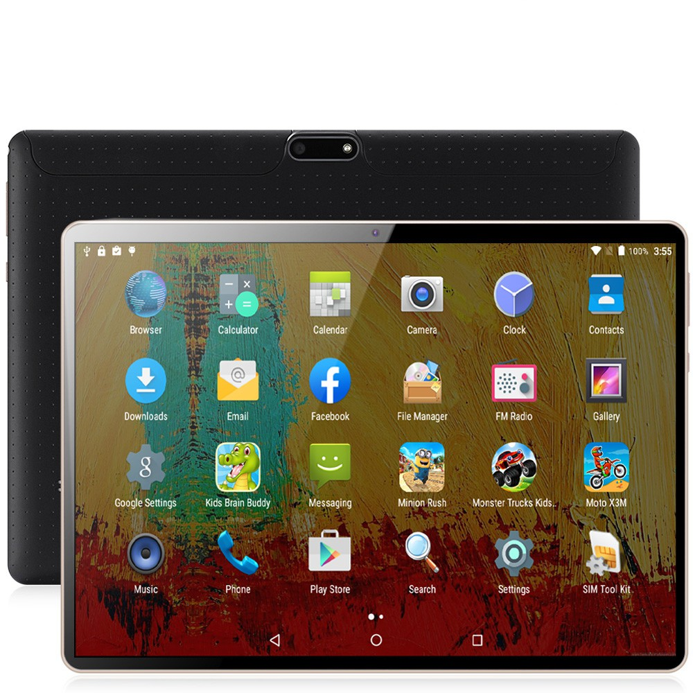 2.5D Glass Screen Tablet Pc 10.1 Inch Android 8.0 10 Core 6G+128GB WiFi Tablets Bluetooth 4G Call Phone Support Extend TF Card