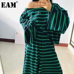 [EAM] demi-body jupe rayé grande taille deux pièces costume nouveau Slash cou manches longues femmes lâches mode printemps automne 2020 1X440