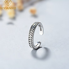 XIYANIKE 925 Sterling Silver Creative Olive Leaf Design Vintage Opening Ring For Women Men Lovers Trendy Simple Jewelry(China)