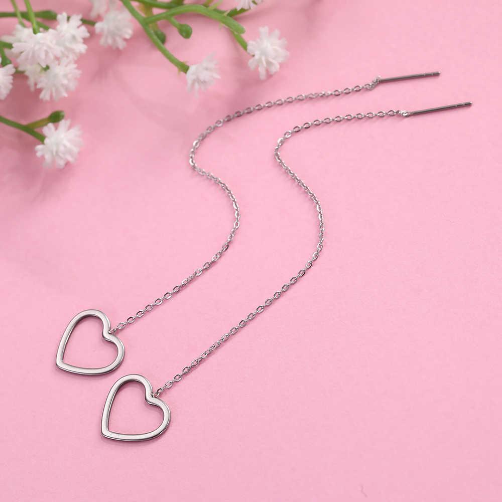 Teamer נירוסטה ארוך קו שרשרת עגילים לנשים קוריאני כוכב ירח לב Earriings תכשיטים ליניארי מברז