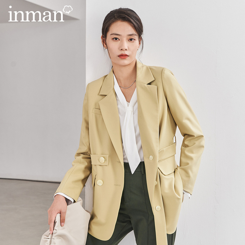 INMAN 2020 Spring New Arrival Literary Commuter Suit Collar Belt Double-breasted Loose Suit