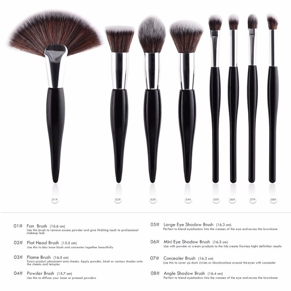 Image 4 - 4pcs or 9 Pcs Beauty Tools Sets Makeup Brushes Chubby Brush/ Flame/ Flat Head/ Micro Brush 2 Colors Blusher Foundation Concealer-in Eye Shadow Applicator from Beauty & Health