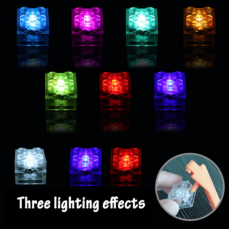 5pcs 2x2 Dot LED Light Up Colorful Accessories Classic Brick Education Light-Emitting Compatible Legoed Building Blocks Kid Toys