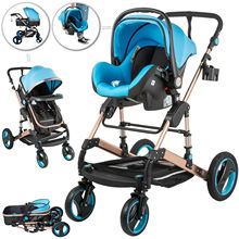 Baby Stroller Anti-Shock Springs High View Pram 3 in 1 with Baby Basket