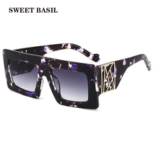 SWEET BASIL 2020 Square Sunglasses Women Floral Frame Gradient Brand Design Fash