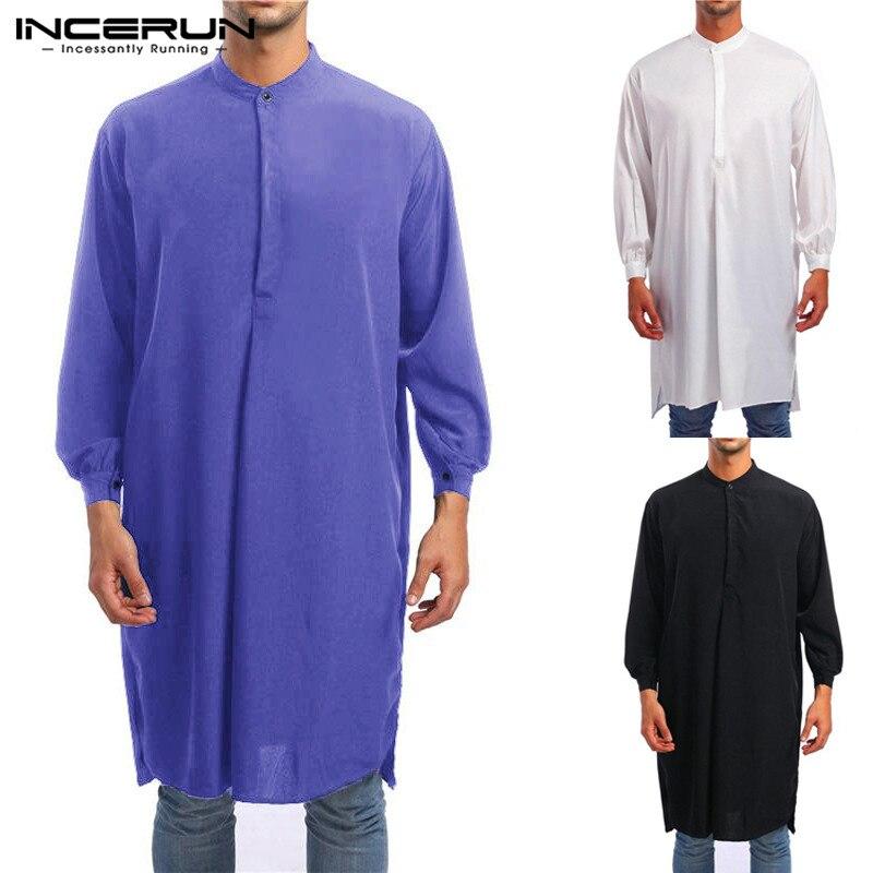INCERUN Men Jubba Thobe Muslim Arabic Islamic Kaftan Long Sleeve Solid Middle East Robes Saudi Arab Thobe Men Clothing Plus Size