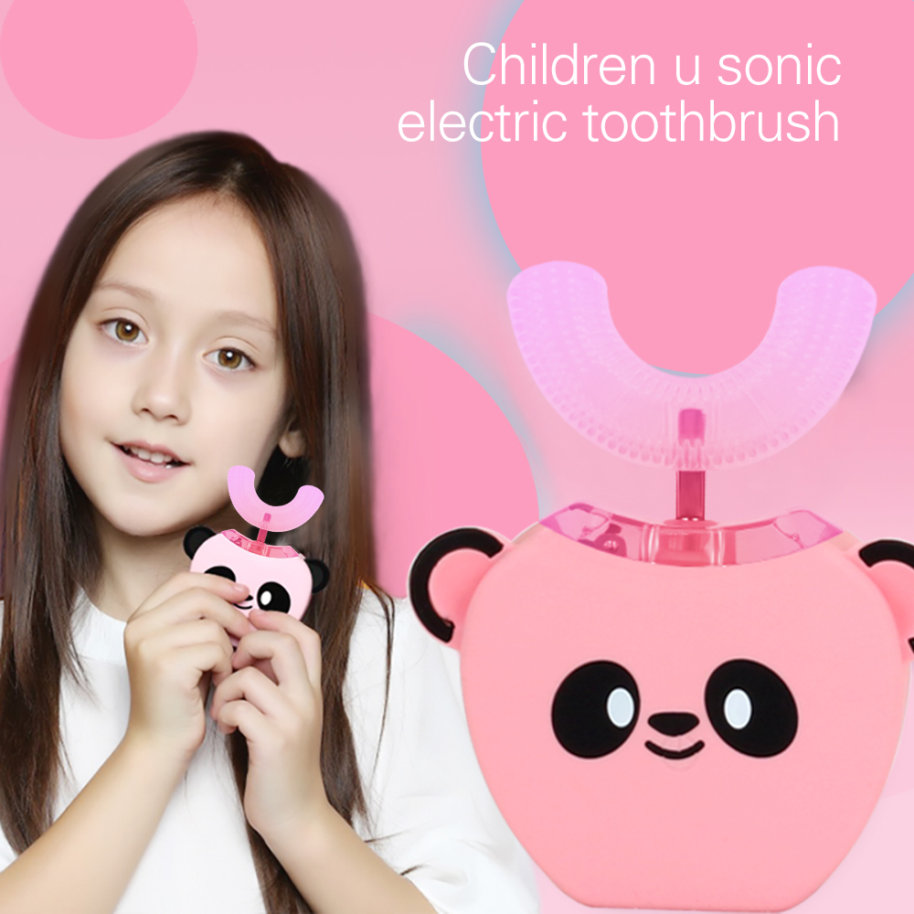 360 Degrees Kids Automatic Sonic Electric Toothbrush USB Charging Mouth Toothbrush Lips Care U Shaped for Children Tooth Whiten