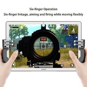 Image 3 - Controller PUBG ipad a sei dita Pubg Mobile Trigger Gamepad Grip L1R1 pulsante di mira a fuoco Joystick per Tablet ipad maniglia di gioco FPS