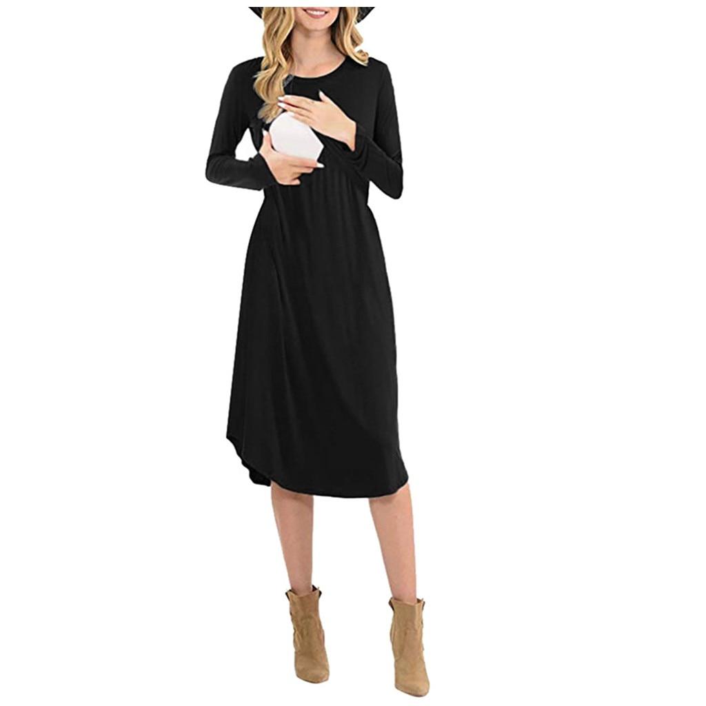 Pregnancy Nursing Dress Soft Cotton Dress Winter Long Sleeve Solid Maternity Dresses Breastfeeding Clothes Dresses Y823