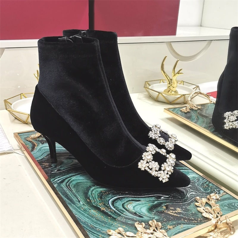 Womens Pointed Toe Suede Leather Ankle Boots Crystal Square Buckle Decor Side Zipper Stilettos High Heel Shoes Fashion New Black