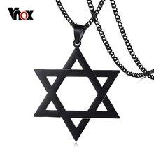 Vnox – collier avec pendentif mega Star de David pour homme, chaîne de 24 pouces en acier inoxydable, 3 couleurs au choix
