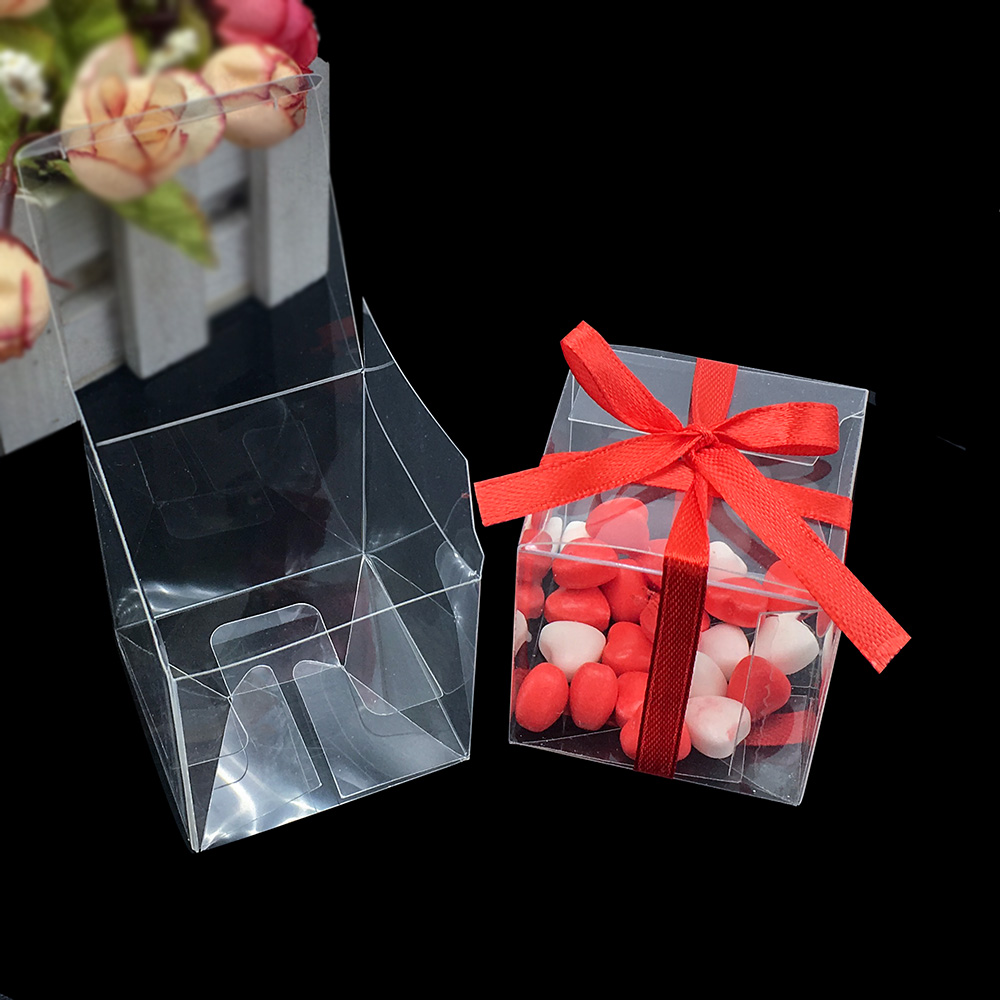 25 Pieces Square PVC Birthday Gift Box Transparent Wedding Favor Holder Chocolate Candy Boxes Event Sweet Candy Bags 5x5x5cm